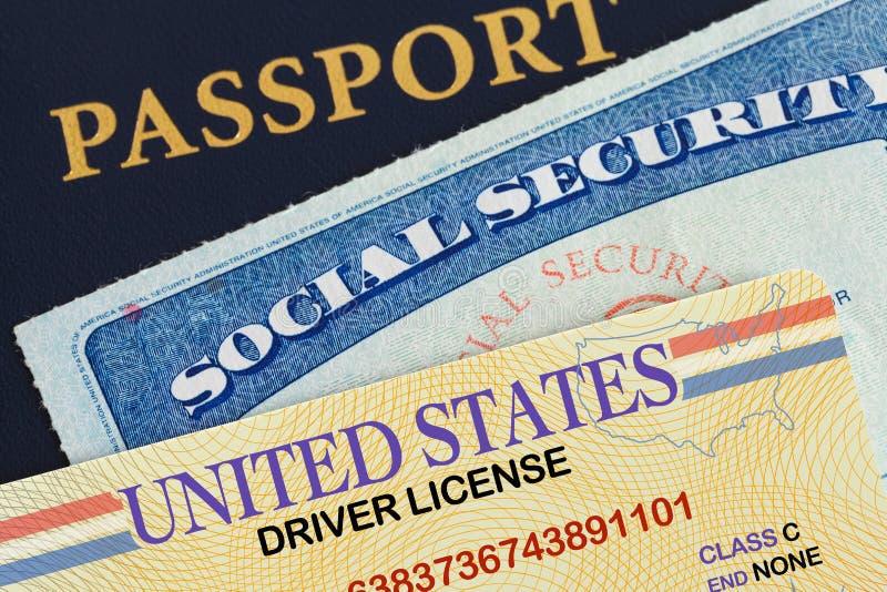 Segurança social e passaporte da licença imagem de stock