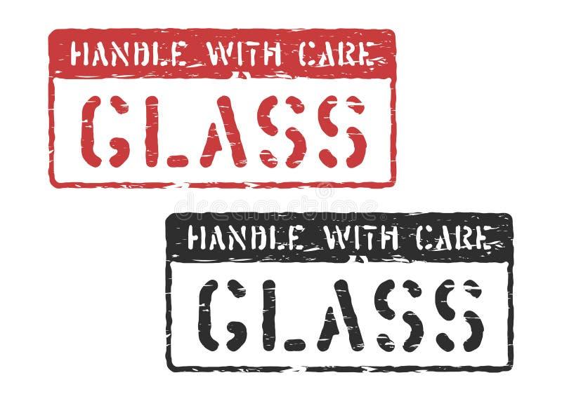 Segure com cuidado a impressão do selo da carga para a logística isolada Vidro do vetor, vermelho frágil ou sinal da caixa negra ilustração royalty free