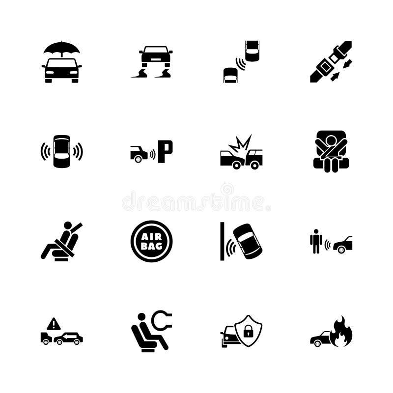 Seguridad auto - iconos planos del vector libre illustration