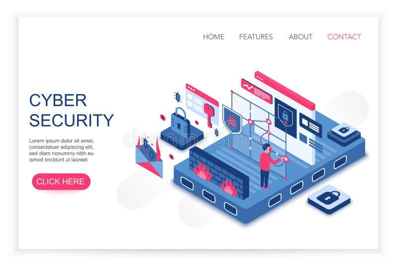 Seguridad cibernética, ahorro personal de los datos de la nube, ejemplo isométrico del vector de la plantilla de la web del conce ilustración del vector
