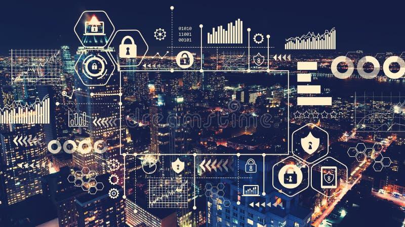 Seguridad cibernética con la vista aérea de Manhattan, NY stock de ilustración