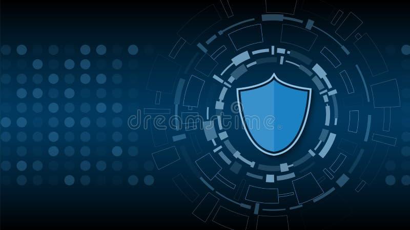 Seguridad cibernética de la tecnología, diseño del fondo de la protección de la red, stock de ilustración