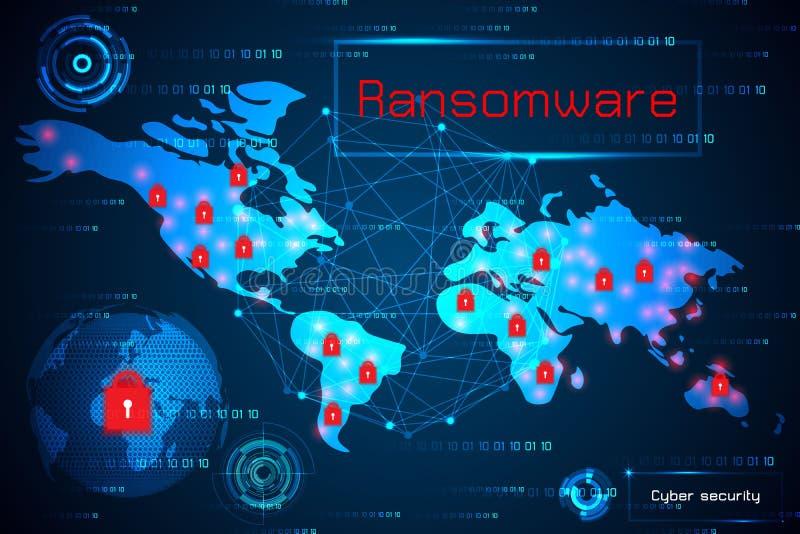 Seguridad cibernética del concepto abstracto de la tecnología con alarma del ransomware stock de ilustración