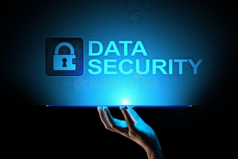 Seguridad cibernética, privacidad de la información, protección de datos Concepto de Internet y de la tecnología en la pantalla v stock de ilustración