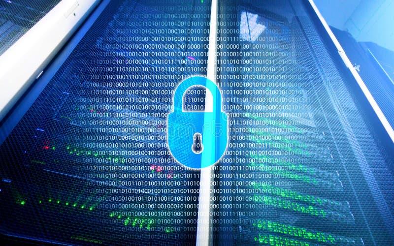 Seguridad cibernética, privacidad de la información y concepto de la protección de datos en fondo del sitio del servidor imagen de archivo libre de regalías