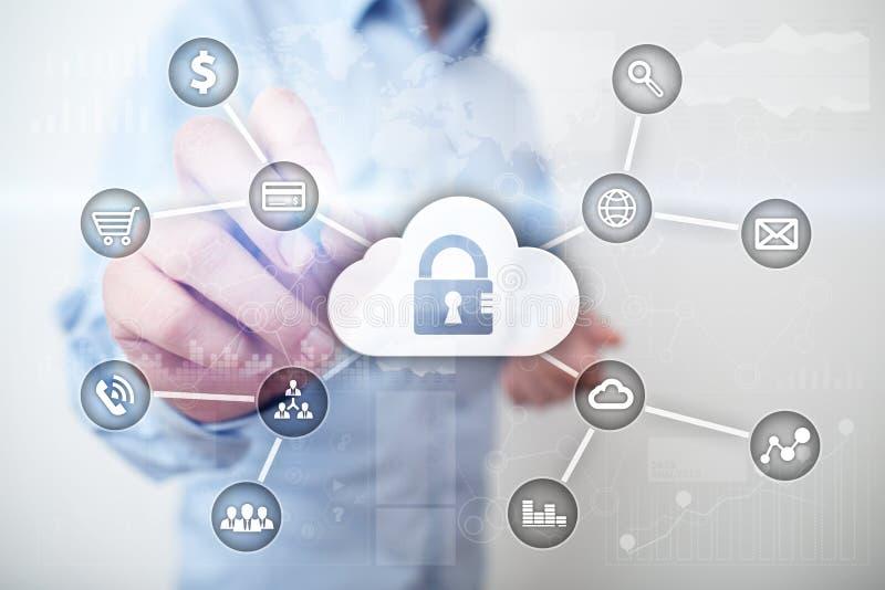 Seguridad cibernética, protección de datos, seguridad de la información y encripción tecnología de Internet y concepto del negoci ilustración del vector