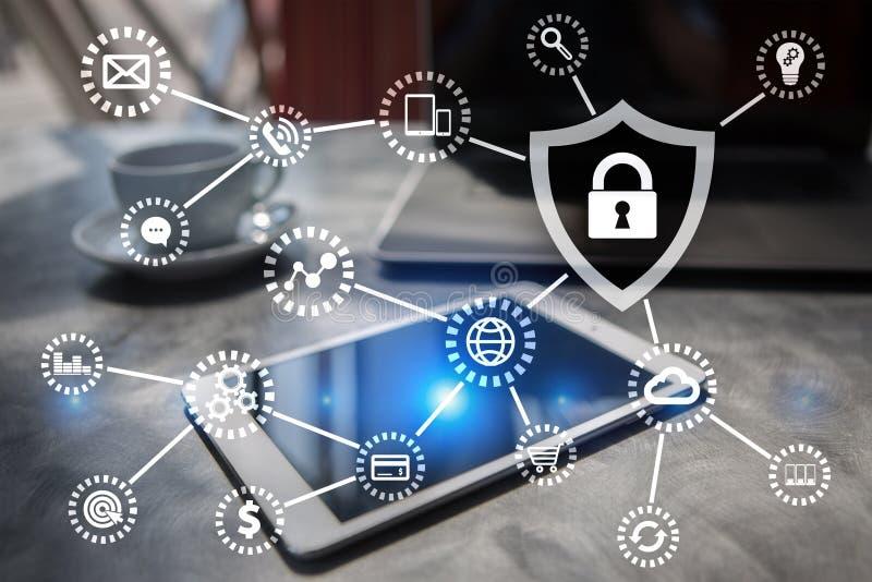 Seguridad cibernética, protección de datos, seguridad de la información Concepto del negocio de la tecnología fotos de archivo libres de regalías
