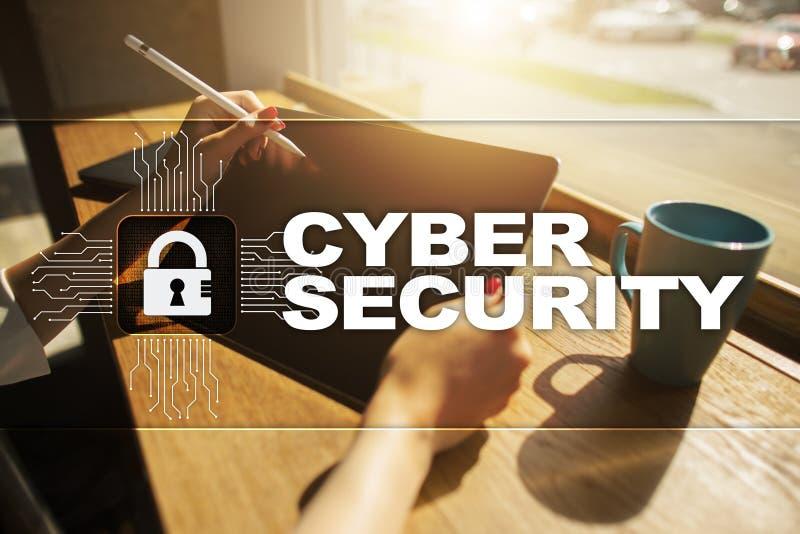 Seguridad cibernética, protección de datos tecnología de Internet y concepto del negocio fotos de archivo