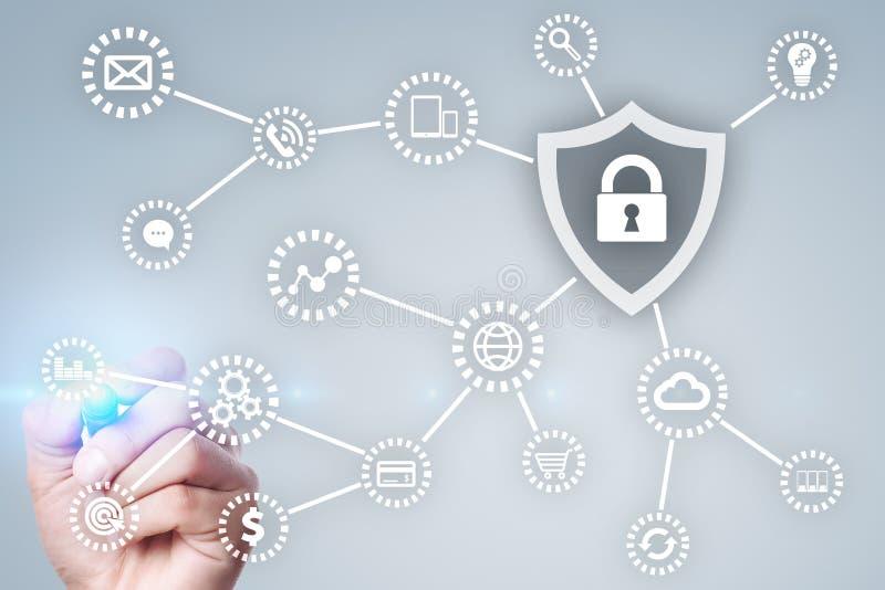 Seguridad cibernética, protección de datos tecnología de Internet y concepto del negocio imagenes de archivo