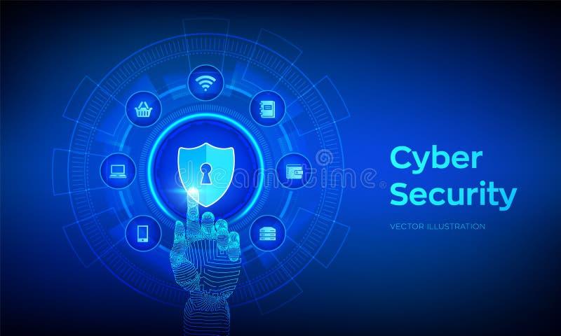Seguridad cibern?tica Concepto del negocio de la protección de datos en la pantalla virtual El escudo protege el icono Aislamient stock de ilustración
