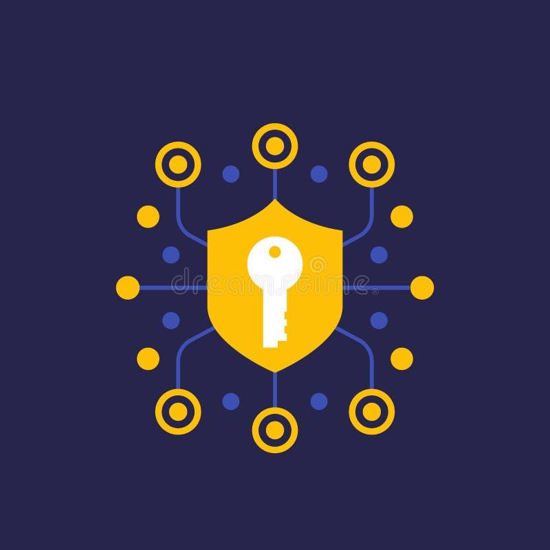 Seguridad, comunicación segura e icono de la encripción stock de ilustración