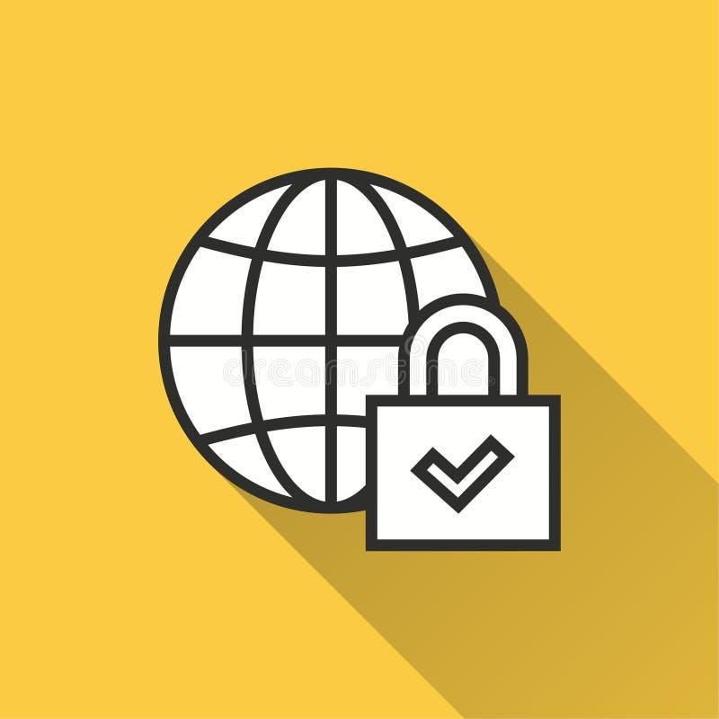 Seguridad de datos - icono del vector para el gráfico y el diseño web stock de ilustración