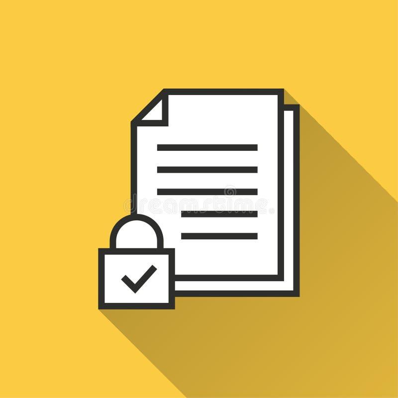 Seguridad de datos - icono del vector para el gráfico y el diseño web ilustración del vector