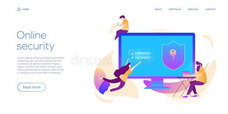 Seguridad de datos personal en el ejemplo plano creativo del vector Ordenador en línea o concepto móvil del sistema de protección ilustración del vector