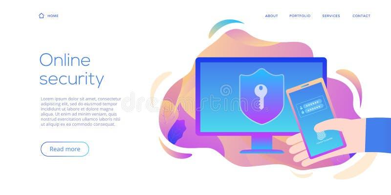 Seguridad de datos personal en el ejemplo plano creativo del vector Ordenador en línea o concepto móvil del sistema de protección libre illustration