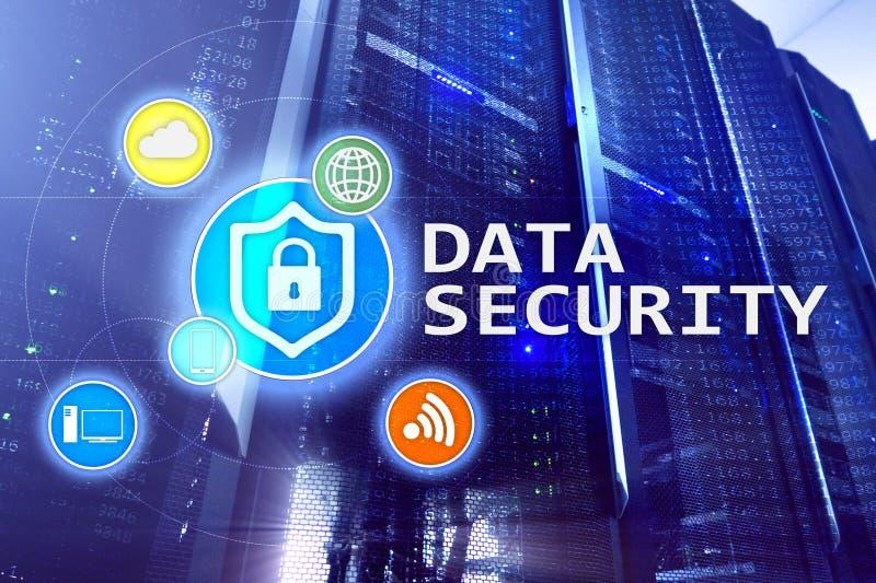 Seguridad de datos, prevención de la delincuencia cibernética, protección de información de Digitaces Cierre los iconos y el fond fotos de archivo