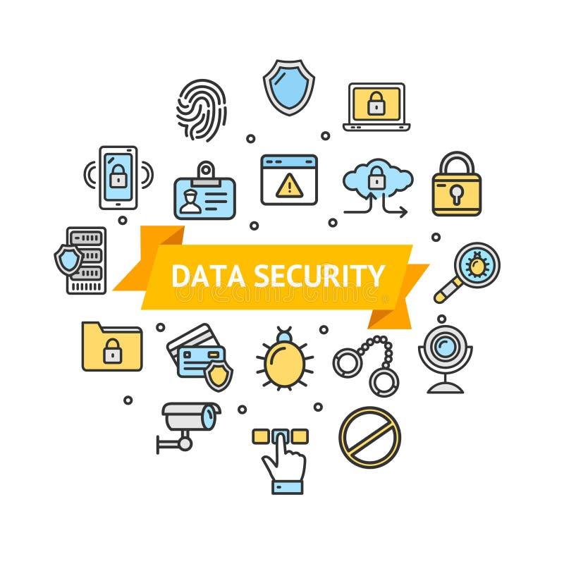 Seguridad de datos y emblema redondo seguro del icono de la plantilla del diseño Vector stock de ilustración
