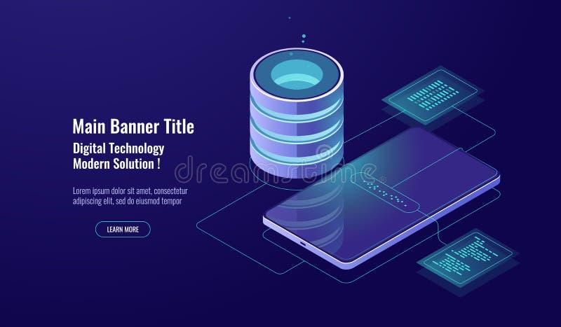 Seguridad de datos y encripción, concepto de la base de datos, sitio del servidor, almacén de datos, tecnología digital, oscurida libre illustration