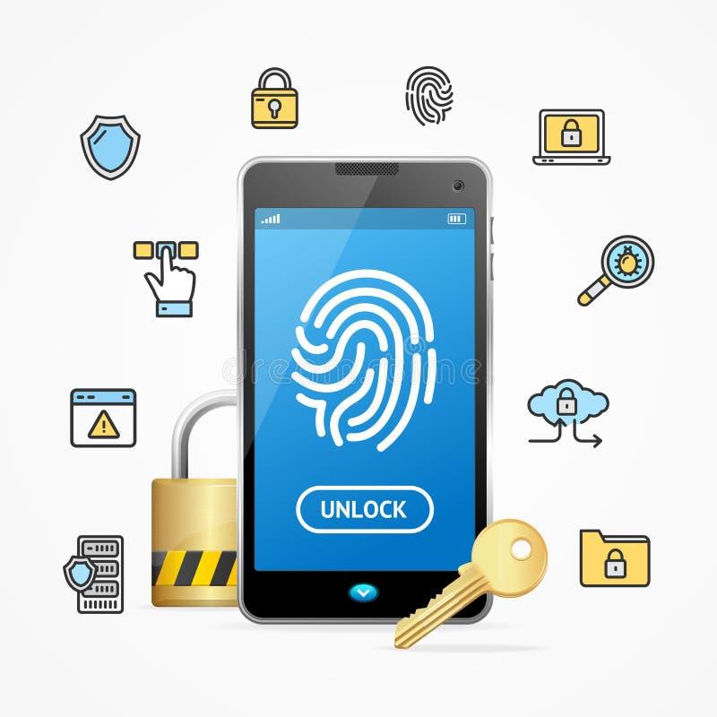 Seguridad de datos y teléfono móvil App del concepto de la caja fuerte Vector libre illustration