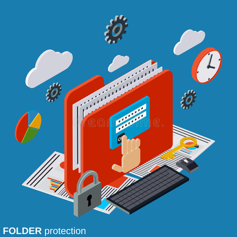 Seguridad de información, concepto del vector de la protección de la carpeta ilustración del vector