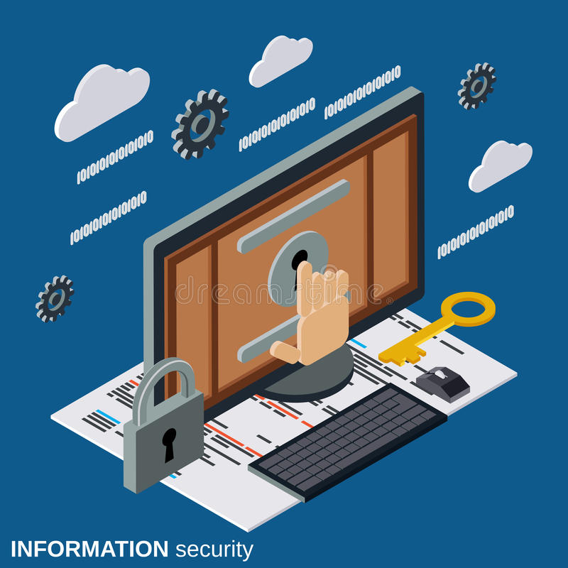 Seguridad de información, concepto isométrico plano del vector de la protección del ordenador stock de ilustración