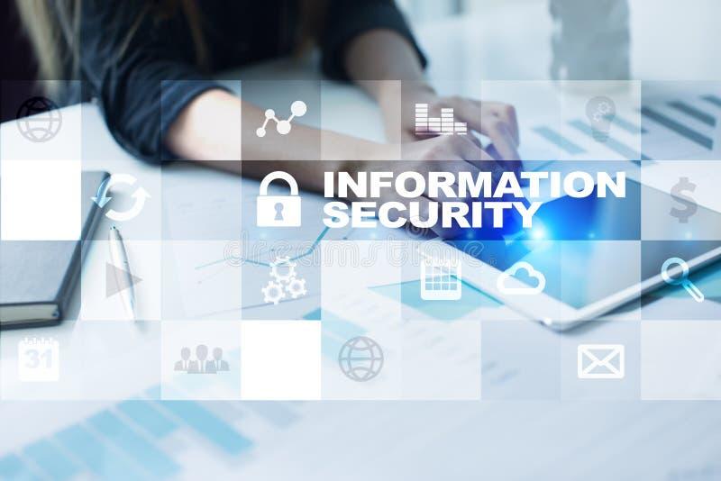 Seguridad de información y concepto de la protección de datos en la pantalla virtual imagen de archivo