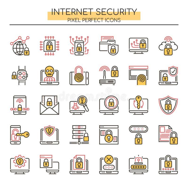 Seguridad de Internet, línea fina e iconos perfectos del pixel stock de ilustración