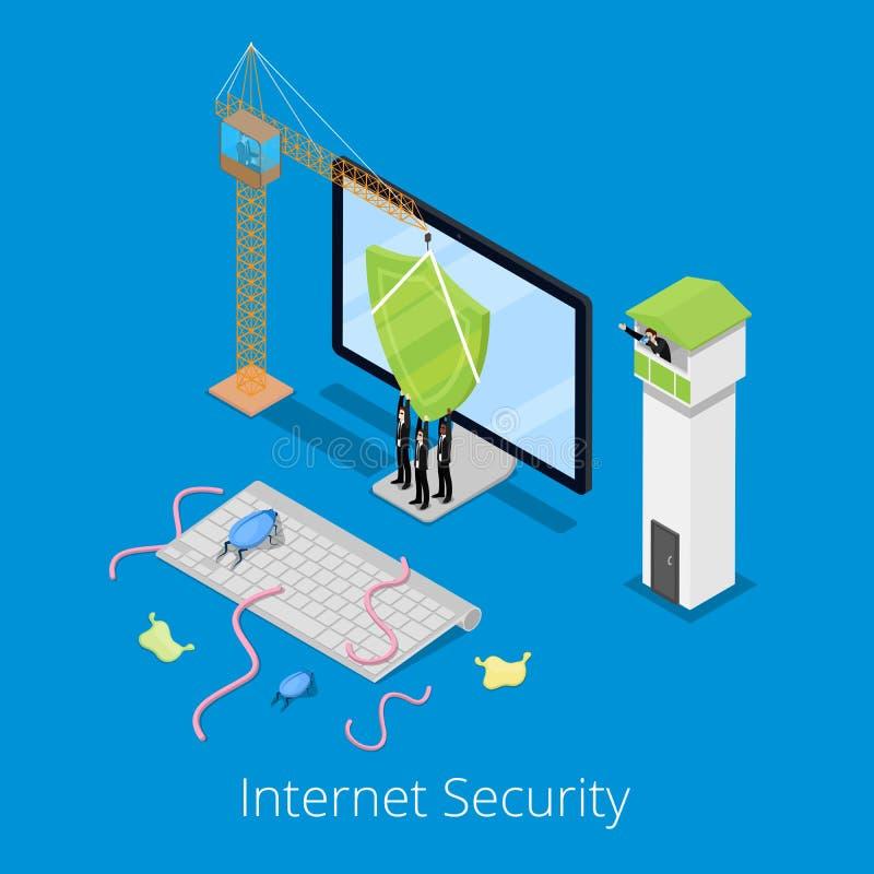 Seguridad de Internet y concepto isométricos de la protección de datos con el ordenador defendido por el escudo de virus ilustración del vector