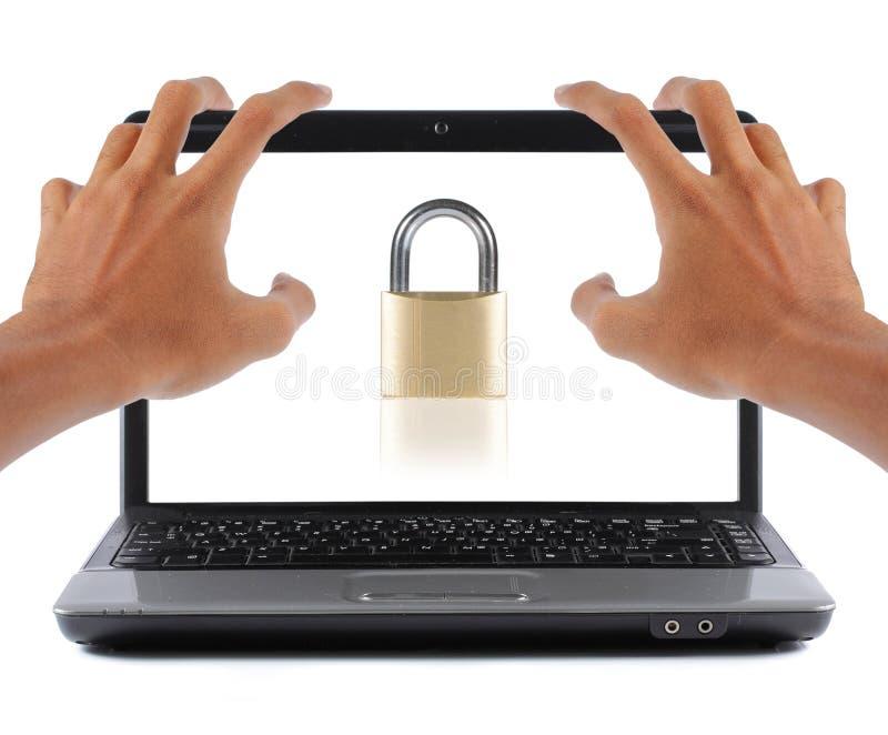 Seguridad de la computadora portátil fotografía de archivo