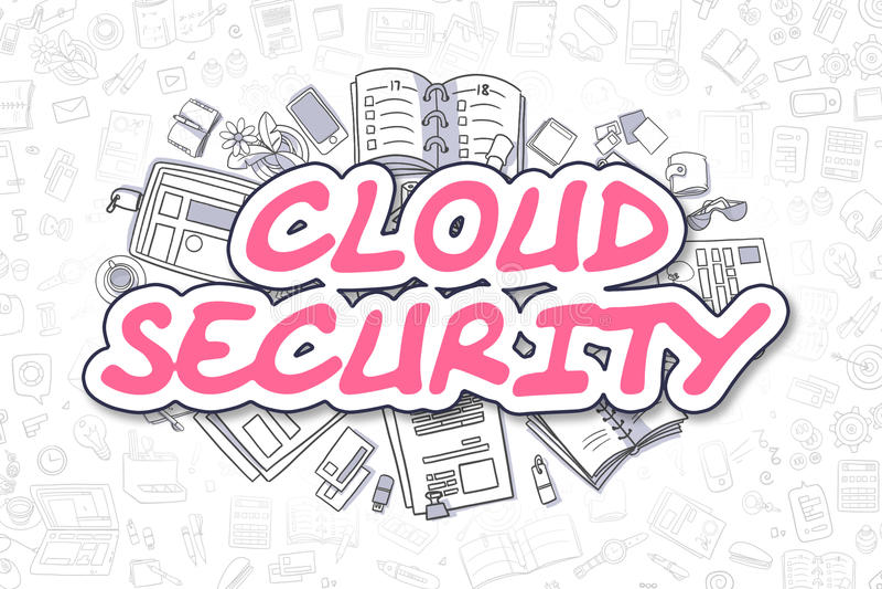 Seguridad de la nube - texto de la magenta del garabato Concepto del asunto ilustración del vector