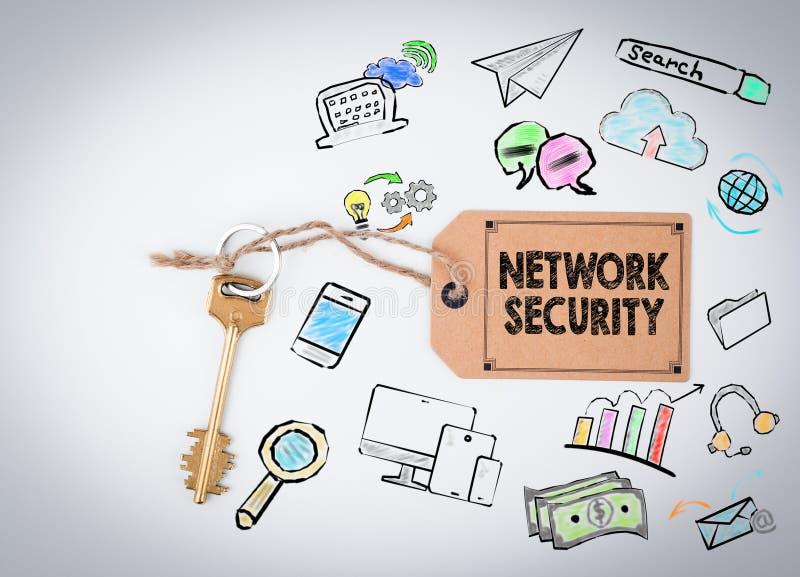 Seguridad de la red Llave en un fondo blanco libre illustration