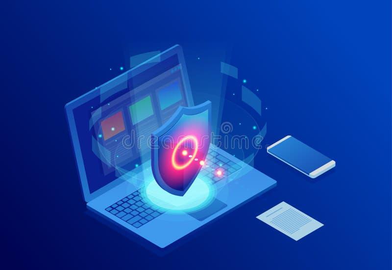 Seguridad de la red de la protección y seguro isométricos su concepto de los datos Plantillas Cybersecurity del diseño de la pági ilustración del vector