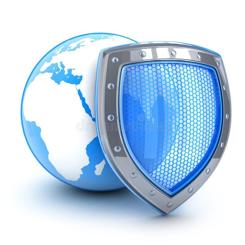 Seguridad de la tierra y del escudo stock de ilustración