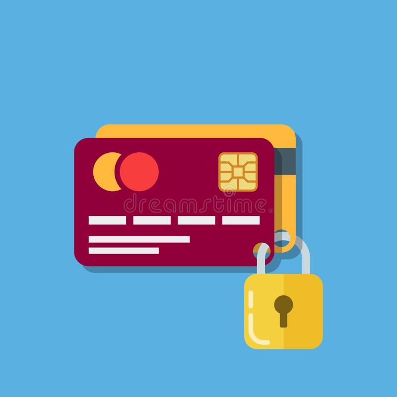 Seguridad de las tarjetas de banco Dos tarjetas de débito aseguradas con una cerradura Icono de una tarjeta plástica que indica l ilustración del vector