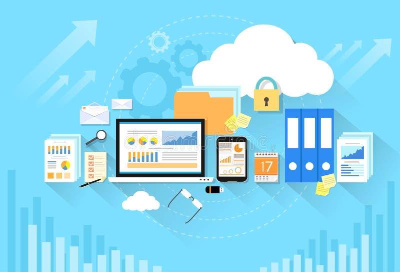 Seguridad del almacenamiento de la nube de los datos del dispositivo del ordenador plana stock de ilustración
