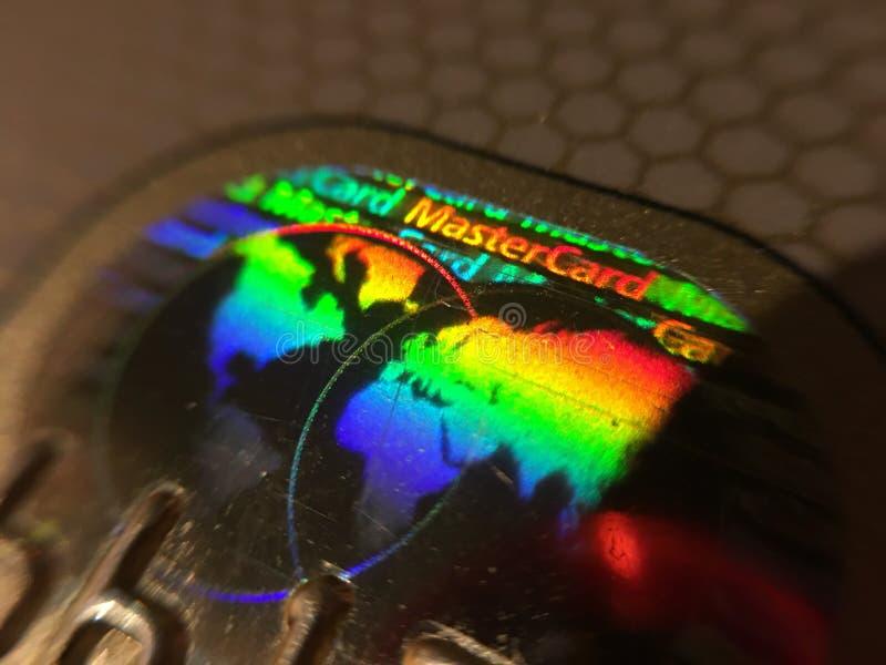 Seguridad del holograma del Master Card foto de archivo