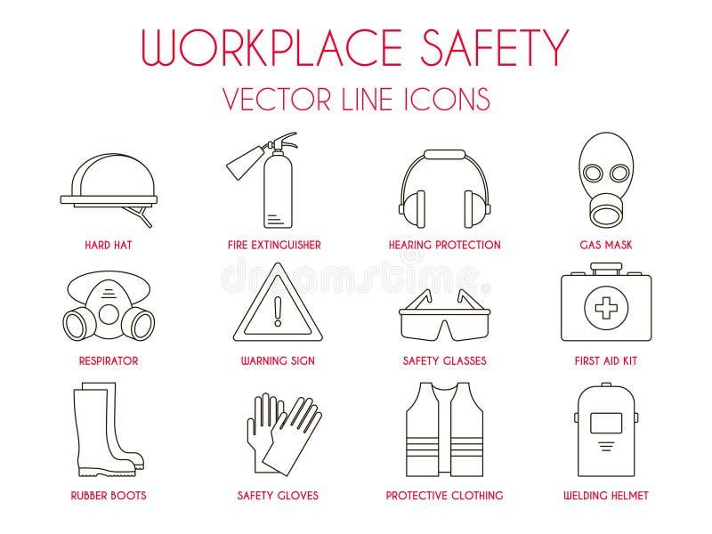 Seguridad del lugar de trabajo y línea fina iconos del equipo protector personal fijados stock de ilustración