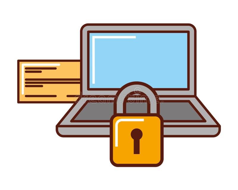 Seguridad del ordenador portátil del banco del control del dinero del negocio libre illustration