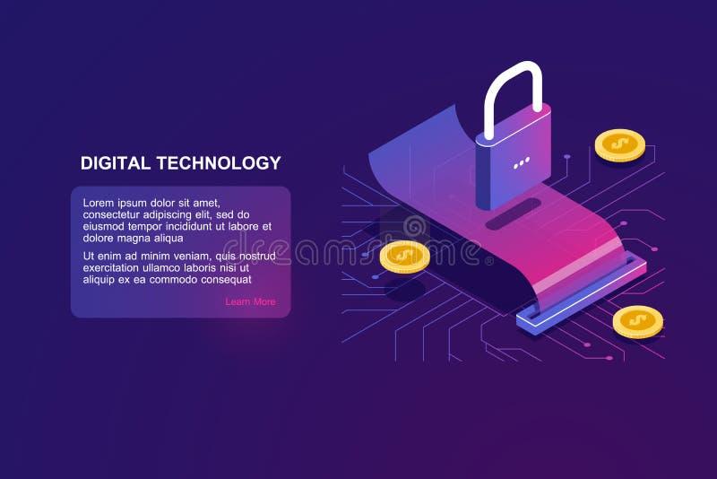Seguridad del pago y transacción del dinero, icono isométrico de la cerradura, actividades bancarias digitales, operación en líne libre illustration