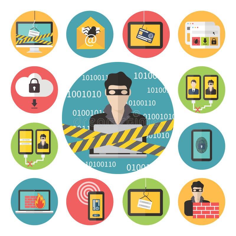 Seguridad del web de Internet ilustración del vector