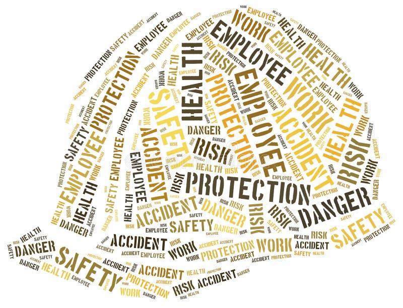 Seguridad en el concepto del trabajo Ejemplo de la nube de la palabra stock de ilustración