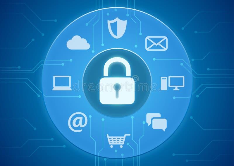 Seguridad en línea ilustración del vector