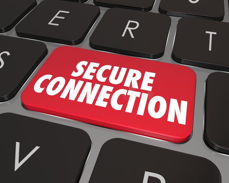 Seguridad en línea de Internet de la llave de teclado de ordenador de la conexión segura ilustración del vector