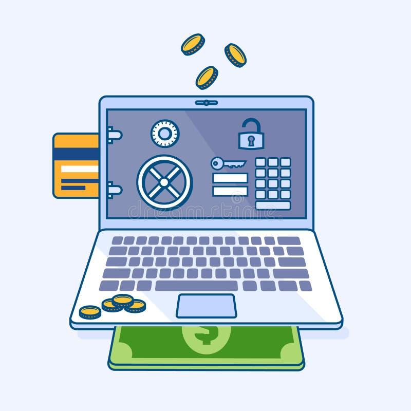 Seguridad en línea de Internet que deposita la caja fuerte en el cuaderno del ordenador portátil con el MES stock de ilustración