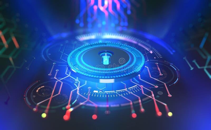 Seguridad en línea Protección de datos Llave e identificación de Digitaces Concepto de ciberespacio del futuro ilustración del vector