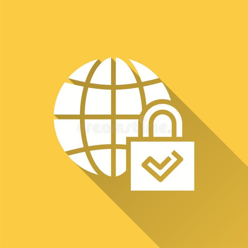 Seguridad global - icono del vector para el gráfico y el diseño web stock de ilustración