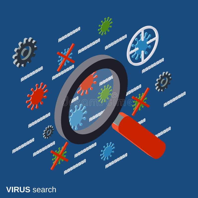 Seguridad informática, búsqueda del virus, antivirus, concepto del vector de la protección de datos stock de ilustración