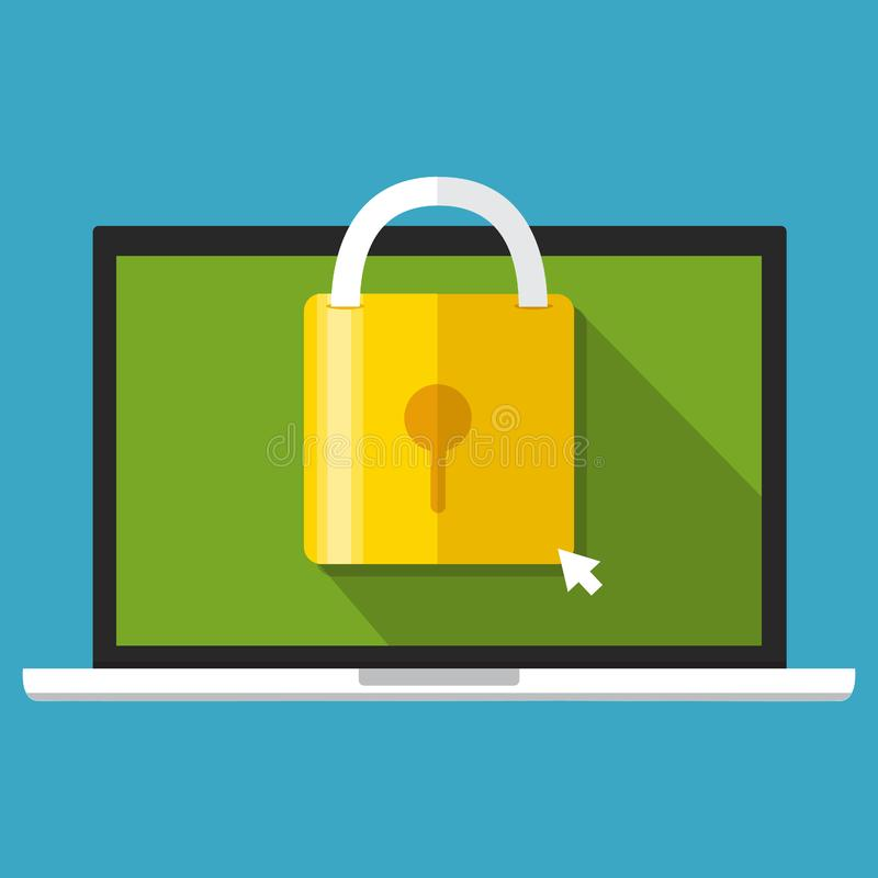 Seguridad informática, centro de la seguridad, seguridad en línea, protecti de los datos libre illustration
