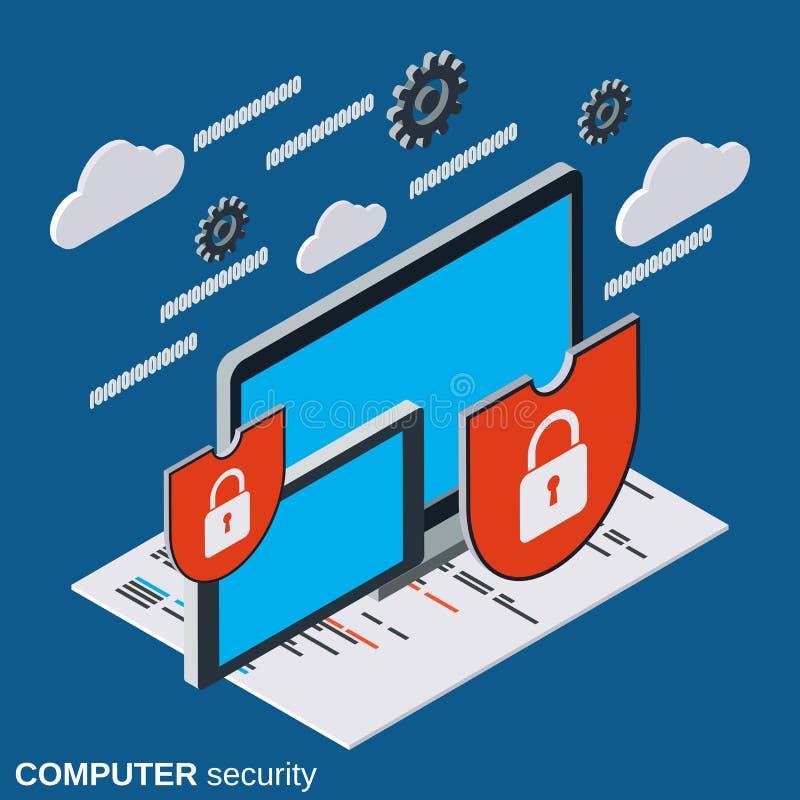Seguridad informática, concepto del vector de la protección de información ilustración del vector