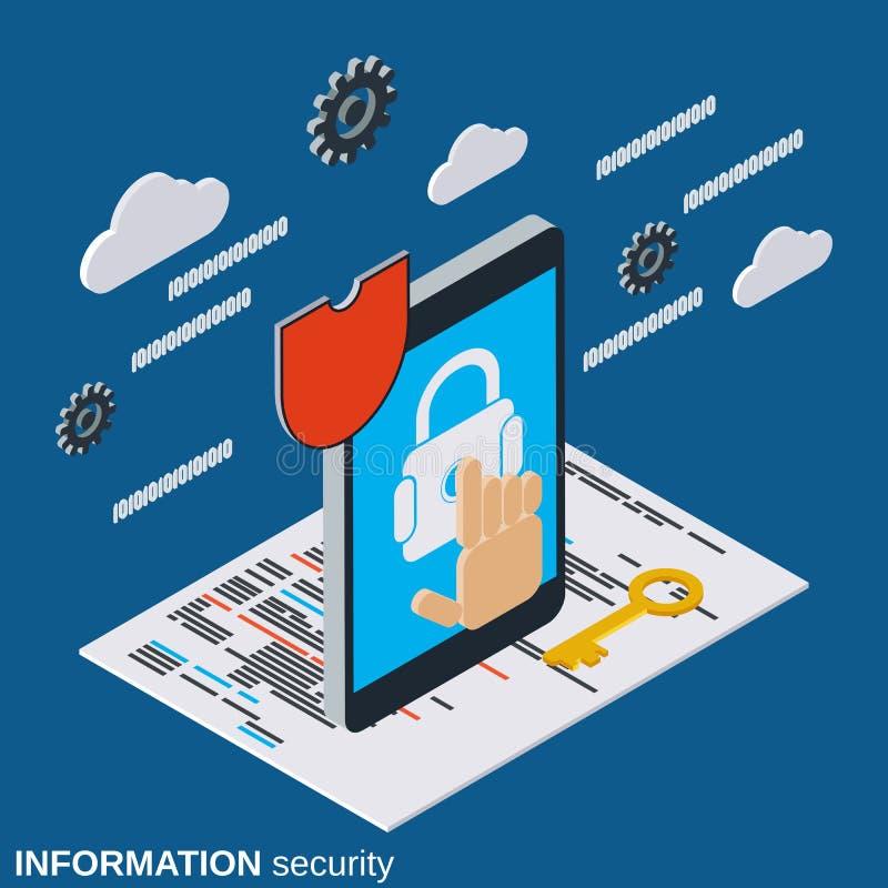 Seguridad informática, concepto del vector de la protección de información libre illustration